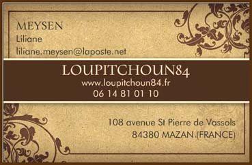 Loupitchoun84 location saisonniere en provence studio a mazan carte de visite